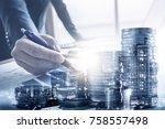 double exposure of businessman... | Shutterstock . vector #758557498