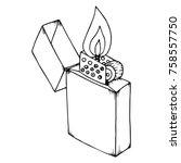 lighted lighter. an open...   Shutterstock .eps vector #758557750