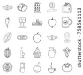 continental breakfast icons set.... | Shutterstock .eps vector #758561113