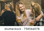 happy friends drinking beer at... | Shutterstock . vector #758566078