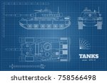 blueprint of realistic tank.... | Shutterstock .eps vector #758566498
