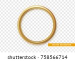 Golden Round Frame Isolated On...