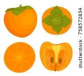 set of vector persimmon in the... | Shutterstock .eps vector #758572834
