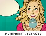 the  blonde lady with gift in...   Shutterstock .eps vector #758573368