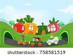 illustration of stickman kids...   Shutterstock .eps vector #758581519