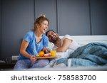 beautiful happy young romantic... | Shutterstock . vector #758583700