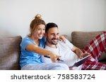 smiling happy beautiful girl... | Shutterstock . vector #758583724