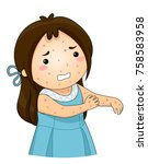 illustration of a kid girl with ... | Shutterstock .eps vector #758583958