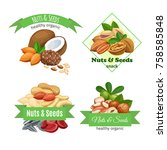 banners or labels with nuts and ... | Shutterstock .eps vector #758585848