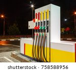 gasoline column for refueling.... | Shutterstock . vector #758588956