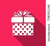 gift box and heart icon... | Shutterstock .eps vector #758592148