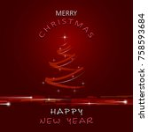 christmas and new year greeting ... | Shutterstock .eps vector #758593684