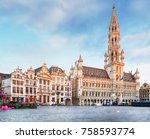 grand place in brussels  belgium | Shutterstock . vector #758593774