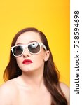young female model with red... | Shutterstock . vector #758594698