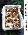 cinnamon rolls or cinnabon for... | Shutterstock . vector #758595238