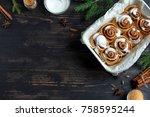 cinnamon rolls or cinnabon for... | Shutterstock . vector #758595244