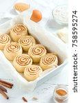 cinnamon rolls or cinnabon ... | Shutterstock . vector #758595274