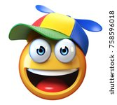 smiling emoji wearing kid cap... | Shutterstock . vector #758596018