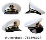 navy cap  ship officer  admiral ... | Shutterstock . vector #758596024