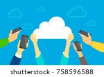 cloud sync concept vector... | Shutterstock .eps vector #758596588