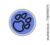 animal paw icon illustration | Shutterstock .eps vector #758598574