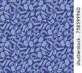 blue abstract seamless pattern. ... | Shutterstock .eps vector #758599960