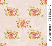 seamless floral pattern with... | Shutterstock .eps vector #758601340