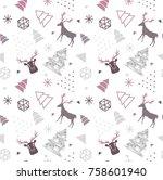 reindeer geometric trendy... | Shutterstock .eps vector #758601940