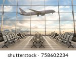 empty airport terminal lounge... | Shutterstock . vector #758602234