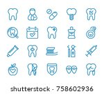 set of minimal dentist dental... | Shutterstock . vector #758602936