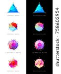set of geometric shapes unusual ... | Shutterstock . vector #758602954