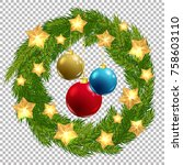 vector christmas decorative... | Shutterstock .eps vector #758603110