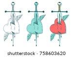 vector sword and heart. vintage ... | Shutterstock .eps vector #758603620