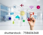 hand of businesswoman touch... | Shutterstock . vector #758606368