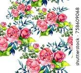 wildflower bouquet pattern in a ... | Shutterstock . vector #758609068