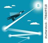 businessman flying in the... | Shutterstock .eps vector #758609518