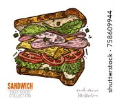 sandwich with ham  cheese ... | Shutterstock .eps vector #758609944