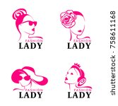 lady fashion logo with woman... | Shutterstock .eps vector #758611168