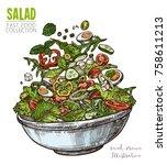 delicious salad with eggs  feta ... | Shutterstock .eps vector #758611213