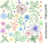 simple and beauty botanical... | Shutterstock .eps vector #758612698