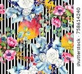 wildflower bouquet pattern in a ...   Shutterstock . vector #758614240