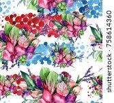 wildflower bouquet pattern in a ... | Shutterstock . vector #758614360
