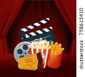 cinema  movie time  concept.... | Shutterstock .eps vector #758615410