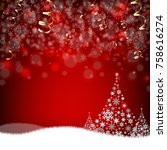 xmas postcard fir tree border... | Shutterstock .eps vector #758616274