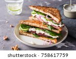 sandwiches with cream cheese ... | Shutterstock . vector #758617759
