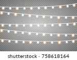 christmas lights isolated on... | Shutterstock .eps vector #758618164