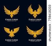 eagle bird logo template | Shutterstock .eps vector #758618203