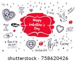heart romantic collection.happy ... | Shutterstock .eps vector #758620426