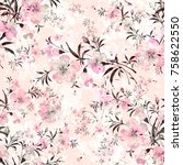 floral watercolor background a... | Shutterstock . vector #758622550