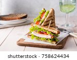 sandwiches with ham  cheese ... | Shutterstock . vector #758624434